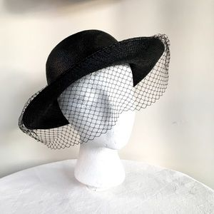 Black Dress Hat with Face Net  & Snazzy Retro Vibe